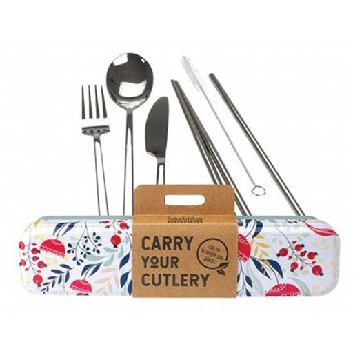 RETROKITCHEN Botanical Carry your Cutlery Stainless Steel Cutlery Set - Welcome Organics