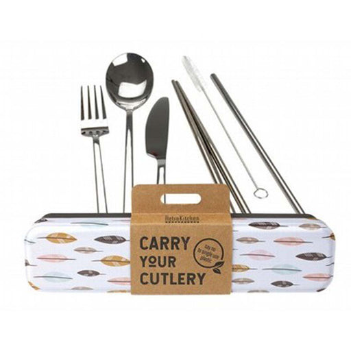 RETROKITCHEN Leaves Carry your Cutlery Stainless Steel Cutlery Set - Welcome Organics
