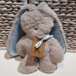 Flat Bunny Comforter - Grey with Blue Ears