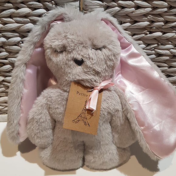 Flat Bunny Comforter - Grey with Pink Ears