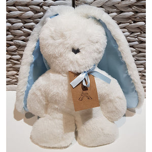Flat Bunny Comforter - White with Blue Ears