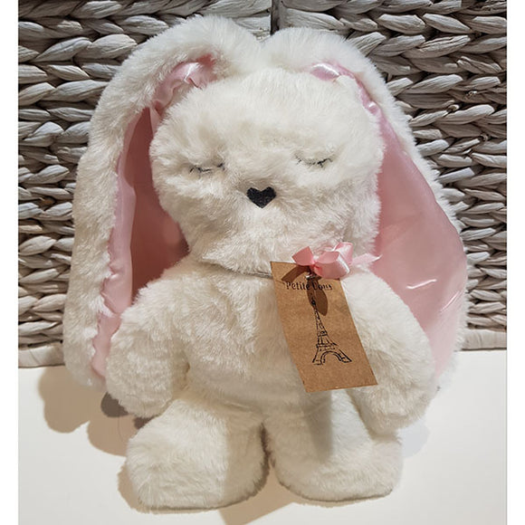 Flat Bunny Comforter - White with Pink Ears