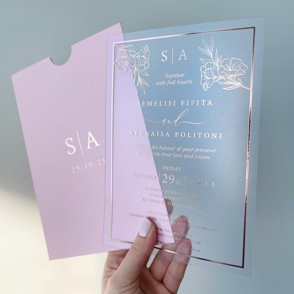 Clear Acetate Events Cards/Invitations including foil print & envelopes