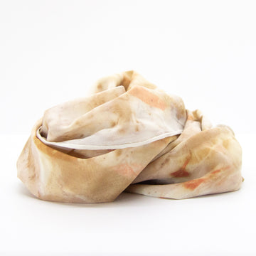 Silk Scarf Eco Dyed Neutral Leaves