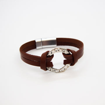 Brown bracelet with silver ring