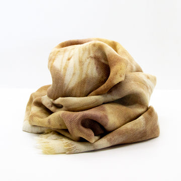 Silk Scarf Eco Dyed Silk/Wool blend Neutral colours