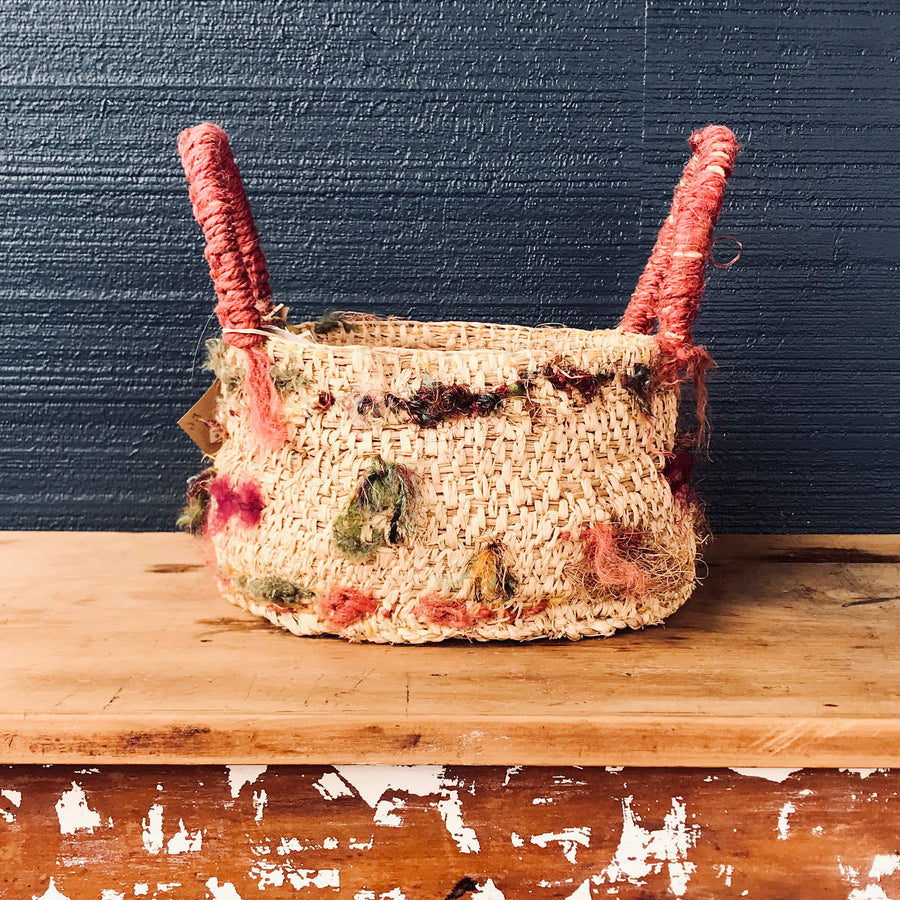 Woven Basket - large natural/raw silk