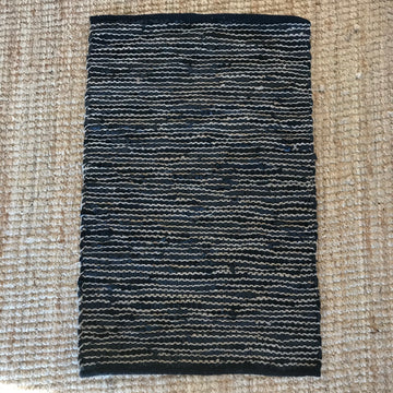 Woven Rug - leather and jute Charcoal