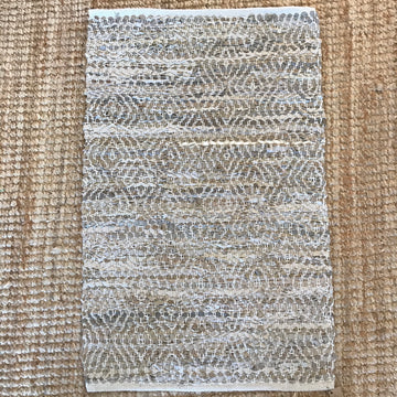 Woven Rug - leather and jute Natural