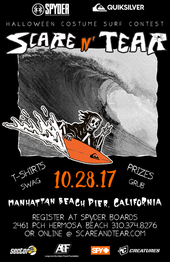 The Spyder Scare And Tear Halloween Costume Surf Contest Saturday October 28th @ Manhattan Pier