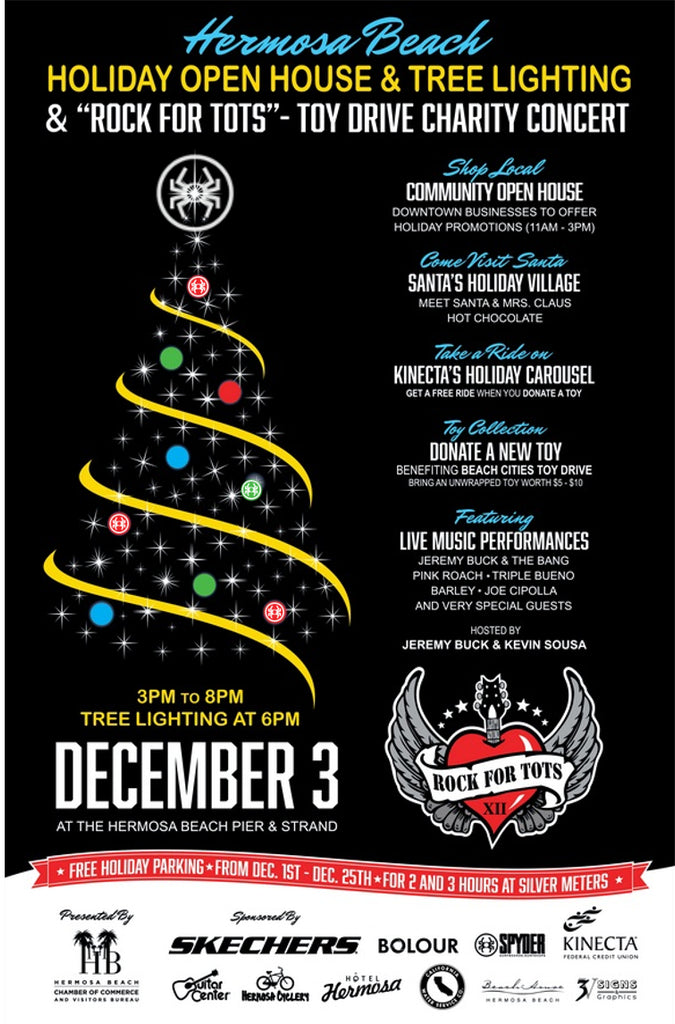 "Hermosa Beach Community Open House & Tree Lighting with ""Rock for Tots"" Toy Drive Charity Concert!"
