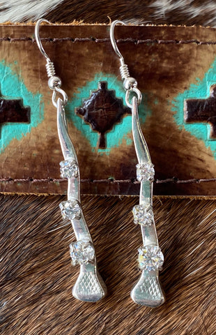Crooked Nail Earrings with CZ, Sterling Silver - Rusty Brown Jewelry