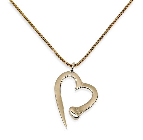 Nail Heart Necklace, 14k Gold - Rusty Brown