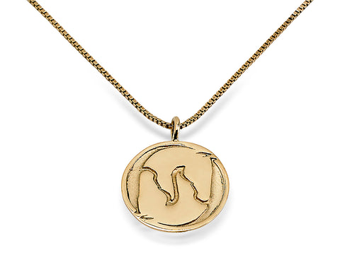 Yin Yang Horse Head Necklace, 14k Gold - Rusty Brown