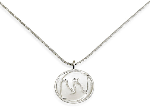 Yin Yang Horse Head Necklace, Sterling Silver - Rusty Brown