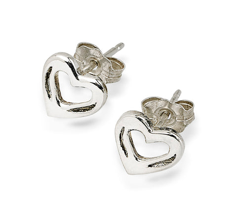 Shoe Heart Earrings, Sterling Silver - Rusty Brown