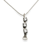 Crooked Nail Necklace with CZ, Sterling Silver - Rusty Brown