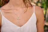 Nail Cross Necklace, Sterling Silver - Rusty Brown Jewelry