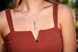 Crooked Nail Necklace with CZ, Sterling Silver - Rusty Brown Jewelry