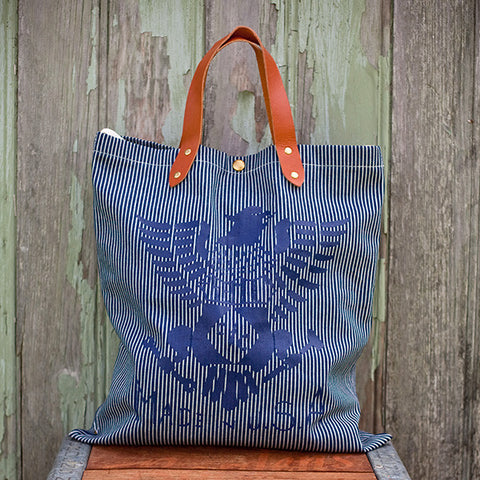Hickory Striped Denim Tote