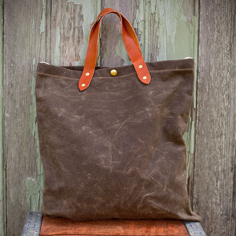 Waxed Sage Canvas Tote