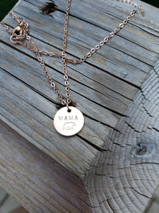 Mama bear circle charm necklace