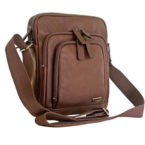 Gino De Vinci Multi-Pocket Colombia Leather Cross-Body Bag