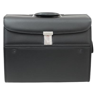 Busby Triton Bonded Leather Pilot Bag On Wheels Black