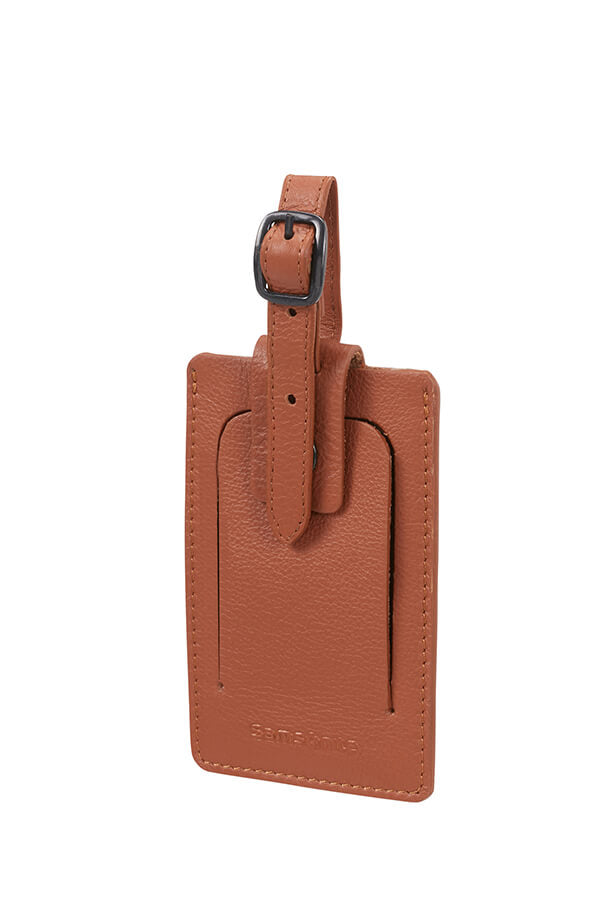 Samsonite Leather ID Luggage Tag Cognac