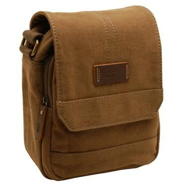 Troop London Heritage Canvas Across Body Bag Brown