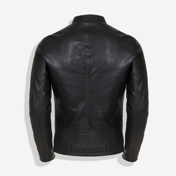 Jekyll And Hide Burton Mandarin Collar Leather Jacket Black
