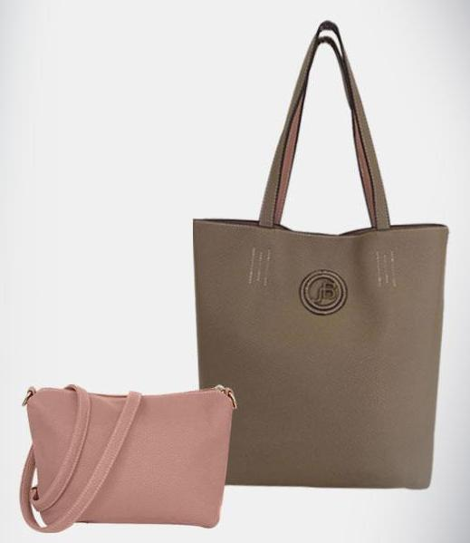 Jo Borkett Two Toned Pebble Tote Biege/Pink