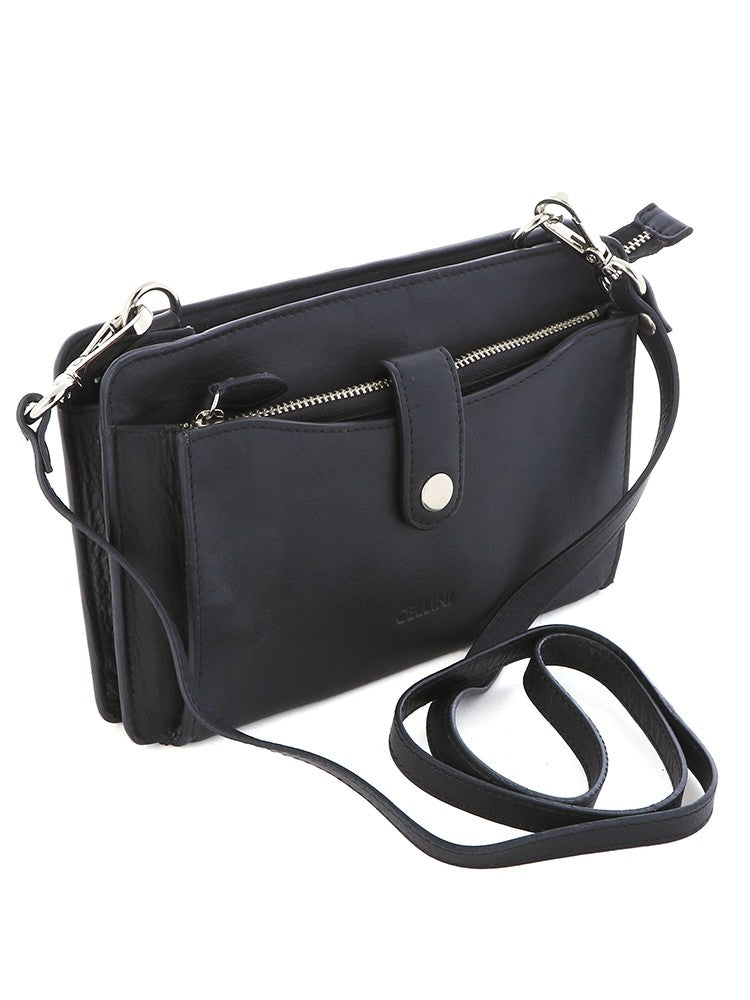 Cellini Signature Sling With Purse Black