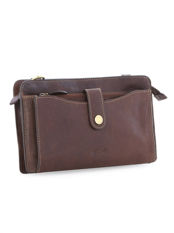 Cellini Signature Sling With Purse Brown