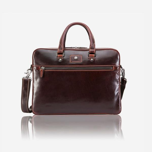Jekyll And Hide Oxford Slim Zip Top Briefcase Tobacco