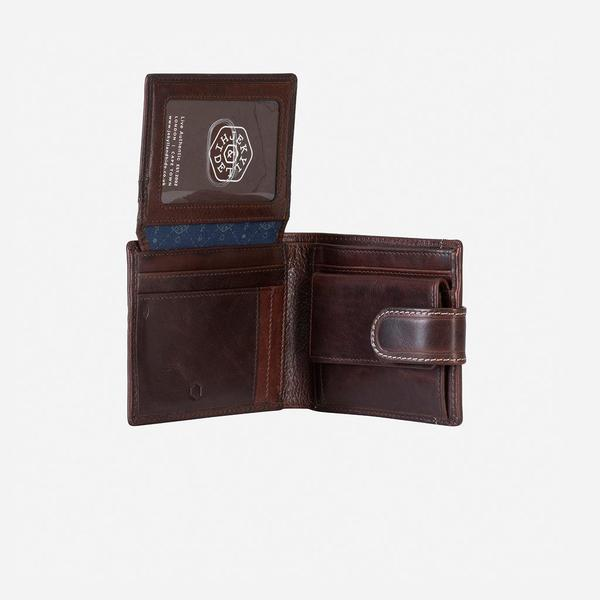 Jekyll And Hide Oxford Billfold Wallet With Coin And Tab Closure Coffee
