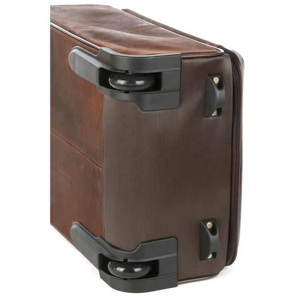 Polo Raw Oil Skin Carry On Trolley Bag Brown
