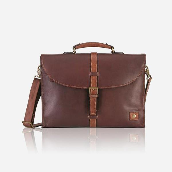 Jekyll And Hide Soho Medium Slimline Briefcase Brown