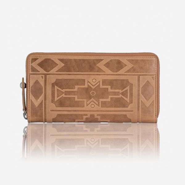 Jekyll And Hide Ndebele Large Classic Zip Around Purse Tan