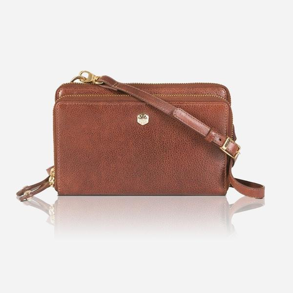 Jekyll And Hide Zulu Ladies Large Leather Crossbody/Sling With Detachable Purse Tan