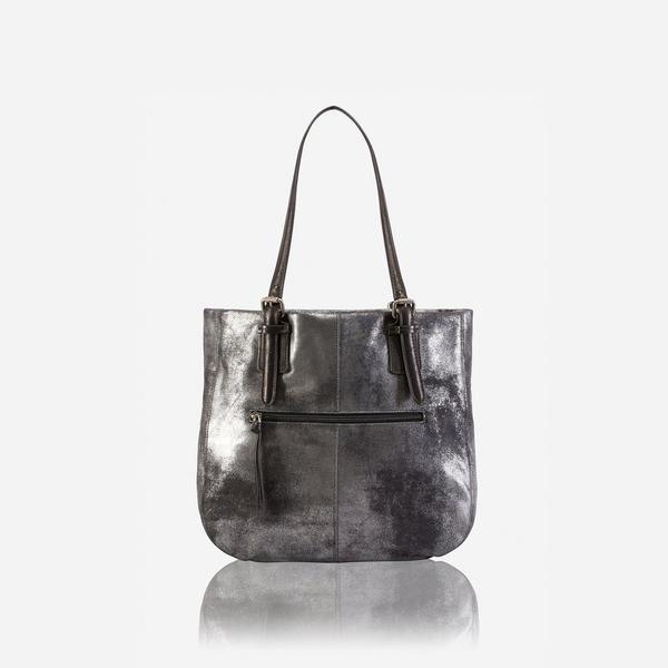 Jekyll And Hide American Ladies Leather Shopping Tote Metallic Black