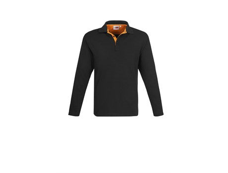 Mens Long Sleeve Solo Golf Shirt - Orange Only