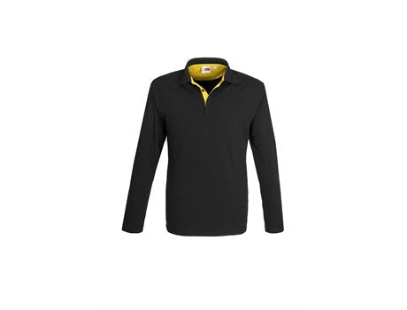 Mens Long Sleeve Solo Golf Shirt - Yellow Only