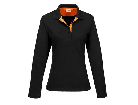 Ladies Long Sleeve Solo Golf Shirt - Orange Only