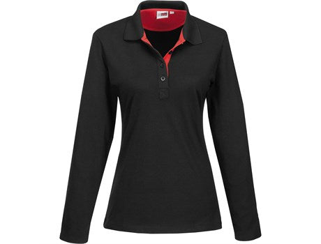 Ladies Long Sleeve Solo Golf Shirt - Red Only