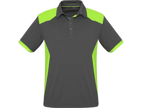 Mens Rival Golf Shirt - Grey With Lime