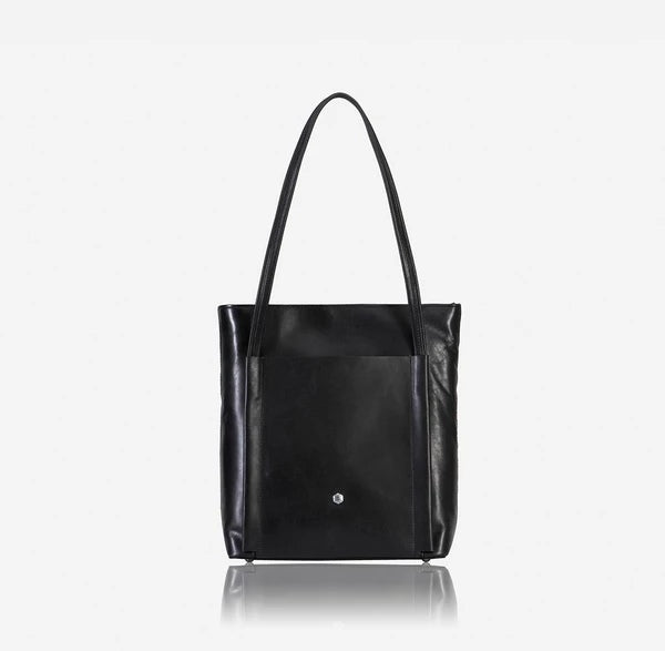 Jekyll And Hide Tokyo Upright Leather Shopping Tote Matte Black