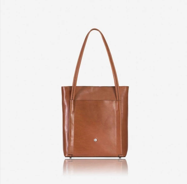 Jekyll And Hide Tokyo Upright Leather Shopping Tote Matte Tan