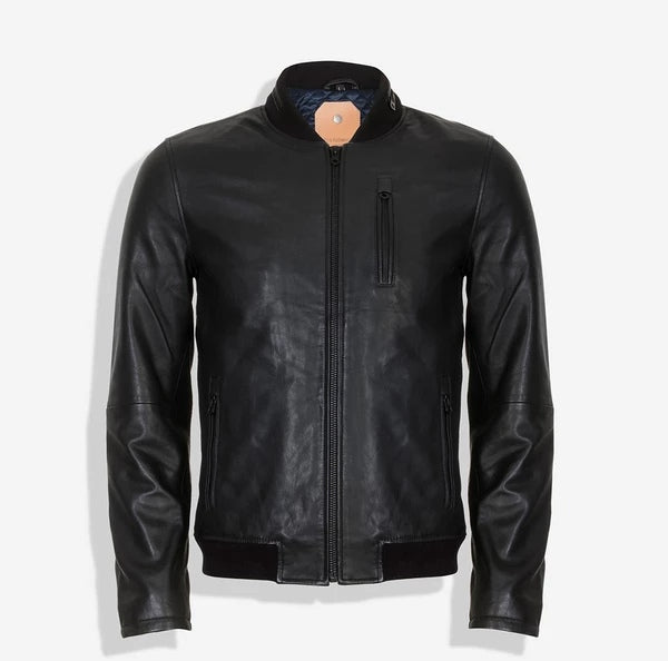 Jekyll And Hide Keitel Standing Collar Bomber Leather Jacket Black