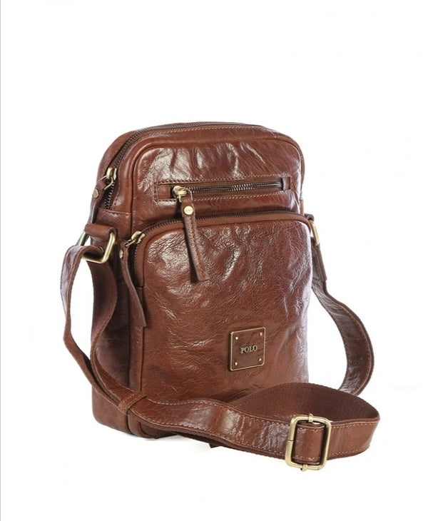 Polo Coyote Leather Crossbody Sling Bag